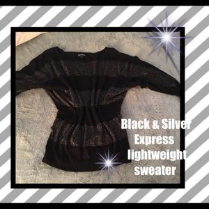 Express Black and sparkly silver tunic top